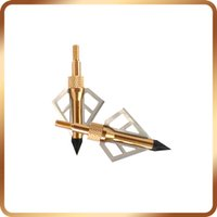 Wholesale Crossbow Gold - 6Pcs Gold Hunting Broadheads 100Grain 3 Blades Steel High Quality Arrow Heads For Compound Bow And Crossbow Arrowheads