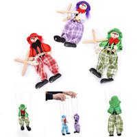 ingrosso bambole di pagliacci-1pz tirare stringa burattino pagliaccio marionette in legno giocattoli vintage colorato divertimento artigianato attività congiunta bambola bambini bambini regalo artigianato