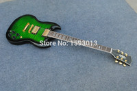 Wholesale Sg Guitar Green - Sg electric guitar large green flowers Can be customized packages mailed