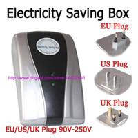 Wholesale Power Save Energy Savers - 50pcs Power Savers 90V-250V 18KW Power Electricity Electric Energy Money Saver Saving Box For Home Plug UK EU