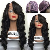 Wholesale Wig Tyra Remy Hair - 8A Body Wave U Part Human Hair Wigs 1*4 Right Part U Part wigs Virgin Hair Brazilian Upart Wig For Black Women