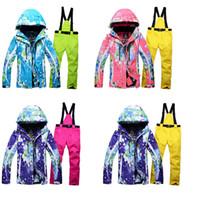 Wholesale Clothing Waterproof Woman - NEW skiing sets jackets women ski suits jackets + pants snowboard clothing, snowboard ski jacket Waterproof Breathable Wind warm