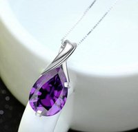 Wholesale tear purple necklace resale online - Angel Tears Sterling Silver Fashion Jewelry Crystal No Chain Amethyst Crystal High Quality Purple Crystal