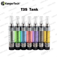 Wholesale E Cigarette Ego Tank - Original Kanger T3S Vapor Atomizer 14mm Diameter eGo 510 Thread Bottom Coil 8 Colors E-cigarette Vs Kangertech Prorank 4 Cltank Tank