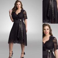 Wholesale Greek Silver Bridesmaid Dresses - Plus Size Bridesmaid Dresses Black Lace Half Sleeves Tea Length A-line With Sash 2016 Fashion Greek Style Gowns