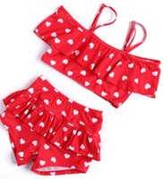 Wholesale little baby love - Children's swimsuit girls bikini baby girl love swimwear little girls swimsuits baby beach clothes fit 1-8 year