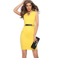 Wholesale Metal Neck Dress - 2016 S-XXXL metal buckle V collar slim size temperament sleeveless dress LY701