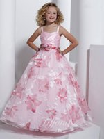 ingrosso i vestiti dei bambini vestono il colore rosa chiaro-Flower Girls Dresses Spaghetti Strap Ball Gown Flower Pattern Light Pink Dress Kid Bambini Big Girl Pageant Party Prom Dress formale