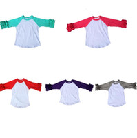 Wholesale Toddler Ruffle Shirts - Wholesale toddler girls cheap ruffle raglan sleeve t shirt 3 4 sleeve shirt icing ruffle raglan sleeve t shirt