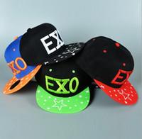 Wholesale Galaxy Visor - Quality Designer Hip Hop Snapbacks Hats EXO Letter Embroidery Kpop Cotton Adjustable Strapback Visor Adults Mens Womens Sports Galaxy Caps