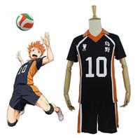 Wholesale Uniform High School - 9 Styles Hot Anime Karasuno High School Cosplay Costumes Haikyuu!! Outfit Jerseys Shirts and Pants Uniform