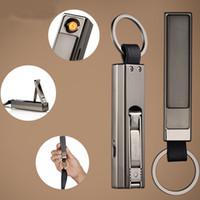 porte-clés cigarette électronique achat en gros de-Briquet électronique rechargeable de haute qualité de trousseau de cigarette d'USB rechargeable avec des tondeuses attachées d'ongle