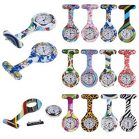 Wholesale Zebra Print Colors - Retail Silicone Nurse Pocket Watch Candy Colors Zebra Leopard Prints Soft Band Brooch Nurse Watch 11 Patterns Follower Airming 100pcs lot