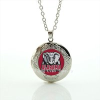 Wholesale Glass Souvenirs - Alabama team picture locket necklace Newest mix 32 sport team glass sports Team badge Souvenirs jewelry gift for men NF011
