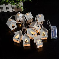 Wholesale Wooden House Decoration - Holiday Decoration White Wooden House Heart Led 10 Fairy String Lights Outdoor Led Christmas Lights Battery Operated Mini Lights