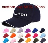Wholesale Custom Logo Hat Embroidery - 6 Panels Plain Cotton Baseball Caps With Sandwish Adjustable Strapbac Custom Printing Embroidery Logo For Adults Cheap Sports Hats Sun Visor