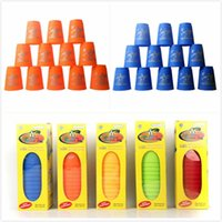 Wholesale Speed Stacking Cups Toys - Wholesale-Hot Sale 12 pcs box magic speed flying stack cup Eductional sport stacking toys for kids