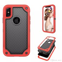Wholesale Plastic Mesh Bags - Hybrid Armor Dual Layer protection 3 in 1 TPU PC cover Shockproof Anti-slip mesh frame Case for iphone X Opp Bag