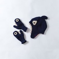 Wholesale Handmade Crochet Earmuff - Wholesale Cute Shark Shape Toddler Hat Cotton Baby Hat +Gloves Set Crochet Baby Beanies Kid Fall Winter Cap Handmade Windproof Earmuff Cap