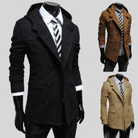 Wholesale Classic Khaki Trench Coat - New Brand Mans Hooded Windbreaker Simple Style Medium-long Trench Coat Classic Double-breasted Solid Color Male Clothing
