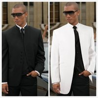 Wholesale Wedding Tuxedos Colors - Two Colors for Choose Custmized Stand Collar White and Black tuxedo  Wedding tuxedo for men two buttons groom wear tuxedo