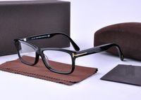 ingrosso vetri ottici grande design-Occhiali da vista da uomo Frame Tom 5146 Brand Designer Plank Cornice grande montature da vista per donna Retro Miopia Montature da vista con custodia