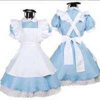 xxs cadılar bayramı kostümleri toptan satış-Toptan Satış - Toptan-Cadılar Bayramı Hizmetçi Kostümleri Bayan Yetişkin Alice Harikalar Diyarında Kostüm Suit Maids Lolita Fantezi Elbise Cosplay Kostüm Kadınlar Kız için