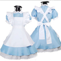 Anime Costumes Cotton Alice in Wonderland Wholesale-Halloween Maid Costumes Womens Adult Alice in Wonderland Costume Suit Maids Lolita Fancy Dress Cosplay Costume for Women Girl