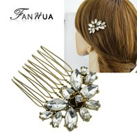 Retro Hairwear Jóias Antique Gold Color com Full Rhinestone Luxury Flower Hair Combs Hair Accessories For Women