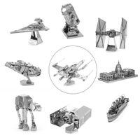 Wholesale Toy Robot Assemble - Wholesale-3D Metal Puzzles Model Jigsaws Fighter Robot DIY Assemble Kid Adult Toy