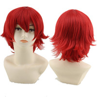 Wholesale Synthetic Wigs For Men - 30cm Harajuku Anime Cosplay Wigs Young Short Straight Synthetic Hair Wig Bangs Blonde Costume Party Wigs For Men Women 10 Colors ZA0126