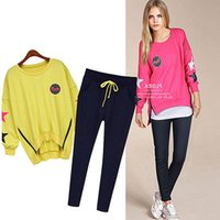 Wholesale New Style Women Sportswear - Spring &autumn 100% cotton new style sportswear long sleeve sweatshirt length pants twinset Women's running fitness casual sets sports suits