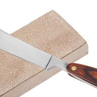 cuero mango de madera al por mayor-Mango de madera de doble cara hombres afeitar navajas de afeitar cuchillo de pulido tablero de cuero afilado Strop Male Barber Leather afilado herramienta