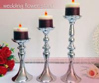 Wholesale Elegant Candles - cheap elegant new designe tall Wedding Candle Holder Romantic Standing Wedding Candlestick Wedding Flower Stands Silver Candelabra