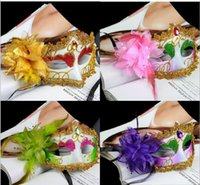 mascarade de diamant achat en gros de-Masques d'Halloween FEMMES dentelle masque pour les yeux masque de mascarade magnifique masque de fête fleur vénitien Demi visage masques de diamants princesse