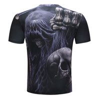 Wholesale White Demon Costume - Dark world horrible demon Harajuku 3D print man T shirt skull funny costume short sleeve summer t-shirt male round neck MMA clothing black