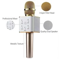 Wholesale Battery Loudspeaker Bluetooth - Q7 Wireless Microphone Bluetooth Speaker with 2600mAh Large Capacity Battery Karaoke Loudspeaker for Iphone7 plus Samsung