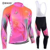equipo ciclismo jersey rosa manga larga al por mayor-BXIO Mujeres Ciclismo Jersey Rosa Invierno polar de manga larga Ropa de la bici Pro Team Otoño Transpirable Ciclismo Ropa Ropa Ciclismo BX-120