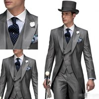 Wholesale Mens Tailcoats - 2017 Hot Light Gray Groom Tailcoat Tuxedos Wedding Suit For Mens Fashion Wedding Tuxedos Designers Evening Prom Men's Suits