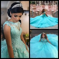 Blu chiaro Cheap Quinceanera Dress Sheer Neck Pizzo Applique Perline Corsetto Ball Gown Prom formale Abito da sera Vestido De 15 Anos Cheap