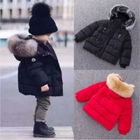 Wholesale Fur Jacket Girls - 2017 Baby Boys Girls Winter Coat Thick Coat Padded Winter Jacket Big Fur Collar Hooded Parka Jacket