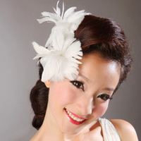 Wholesale Cheap Wedding Feather Hair Accessories - CHENLVXIE Vintage Wedding Tulle Hair Accessories Feather headdress with Cambric Bridal Hats Sexy Cheap Modest Under 10