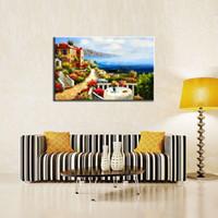 pinturas de casas mediterraneas al por mayor-1 Imagen Combinación de Pinturas de Lona Mediterráneo Villas Moderna Lienzo de Pared Decoración de Arte Decoración Del Hogar para la Sala de Regalos