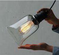ingrosso tonalità di lampade da soffitto in vetro d'epoca-Lampadario a sospensione Vintage paralume in vetro con luce E27 Lampadina Edison Garantito al 100% Retro lampada da soffitto industriale fai da te