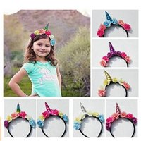 Wholesale Party Song Mix - SONG LIN Kids Halloween Unicorn Headband Princess Unicorn Headdress Christmas Party Hairstyle Hair DHL free delivery