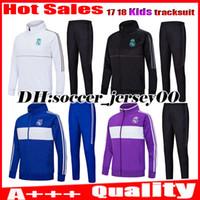 Wholesale Child S Jacket - Kids 2017 2018 ASENSIO Real madrid trainingsuit kits tracksuit child soccer Jersey Longsleeve RONALDO BALE RAMOS ISCO MODRIC football jacket