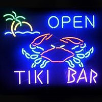 "Wholesale Tiki Bar Sign Lighted - Brand New Clab Tiki Bar Open Real Glass Neon Sign Beer light 36""X24"""