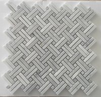 Vendita calda Interlock Bianco Marmo Mosaico Piastrelle Decorazione Della Casa per Feature Wall, Cucina Impermeabile Backsplash, Bagno, Decorazione del pavimento 10 pz / lotto