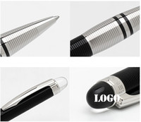 Wholesale Ballpoint Rollerball - Free Shipping High quality Crystal top mb-sw black and silver Circle Cove rollerball pen, office Luxury pens with series number