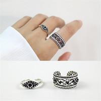 Wholesale Turkish Sterling Jewelry - Authentic 925 Sterling Silver Jewelry Black Zircon Engraving Flower Turkish Evil Eye Open Rings for Women